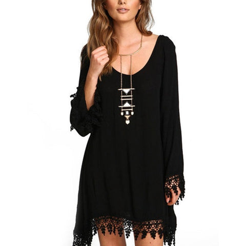 LASPERAL Women Casual Loose Long Sleeve Black Tassel Party Dress Vestidos Summer Boho Style O Neck Beach Sundress Plus Size 5XL - serenityboutique