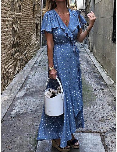 Women's Swing Dress - Polka Dot Blue M L XL XXL