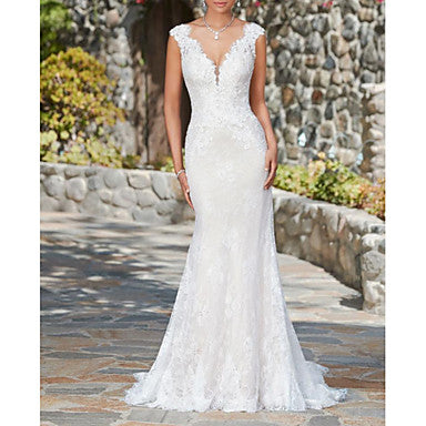 Mermaid / Trumpet V Neck Sweep / Brush Train Lace Cap Sleeve Glamorous / Sexy Illusion Detail Made-To-Measure Wedding Dresses with 2020
