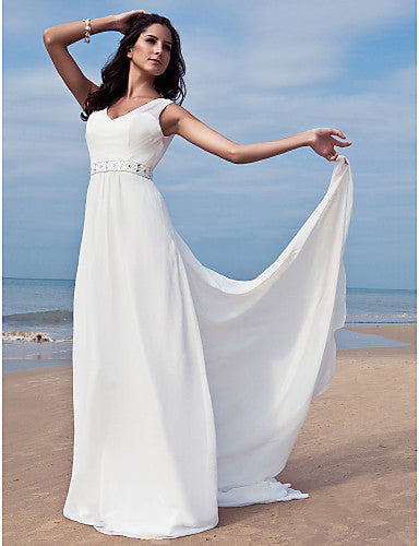 Sheath / Column V Neck Floor Length Chiffon Regular Straps Made-To-Measure Wedding Dresses with Beading / Sash / Ribbon 2020 / Removable train