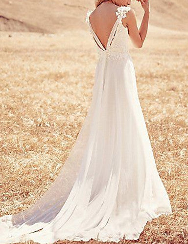 A-Line V Neck / Strapless Sweep / Brush Train Chiffon / Lace Spaghetti Strap Made-To-Measure Wedding Dresses with Appliques 2020