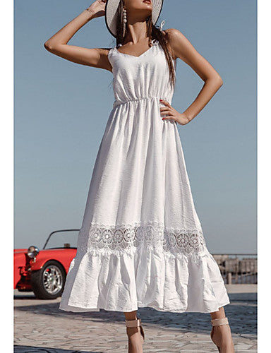 Women's A Line Dress - Solid Color White M L XL XXL