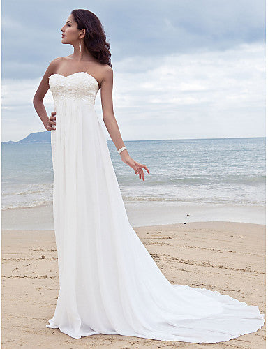 A-Line Sweetheart Neckline Court Train Chiffon Strapless Open Back Made-To-Measure Wedding Dresses with Beading / Appliques 2020