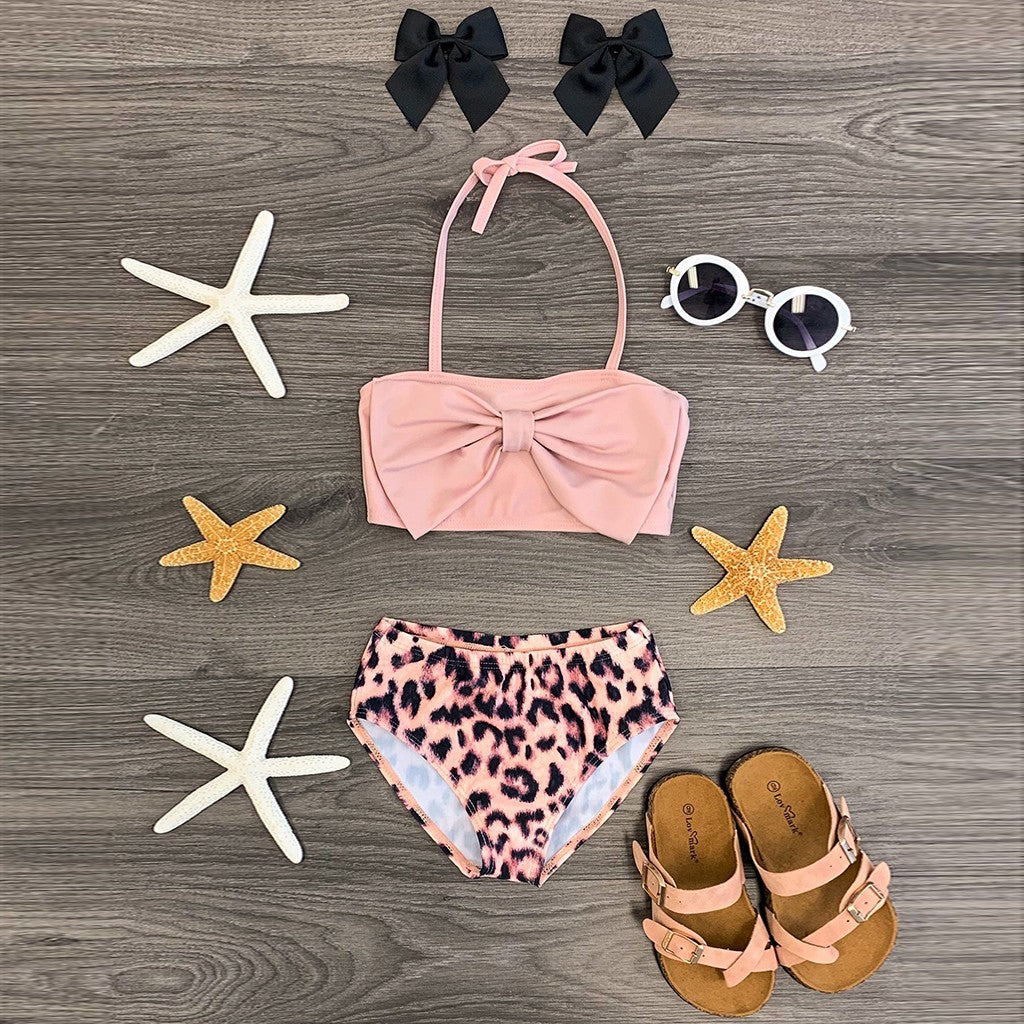 summer baby girls clothing set toddler clothes Children Kids Girls Sleeveless Bow Swimsuit+Leopard Print Shorts Swimwear Set