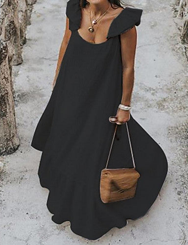 Women's Plus Size Street chic Elegant Maxi Loose Swing Dress Ruffle Strap Black White S M L XL