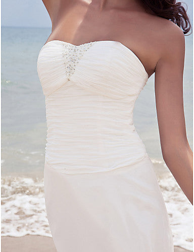 Sheath / Column Sweetheart Neckline Ankle Length Chiffon Strapless Little White Dress Made-To-Measure Wedding Dresses with Beading / Ruched 2020 / Beach / Destination