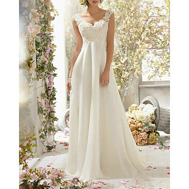 A-Line Sweetheart Neckline Sweep / Brush Train Chiffon / Lace Spaghetti Strap Romantic Backless Made-To-Measure Wedding Dresses with Beading / Lace Insert 2020