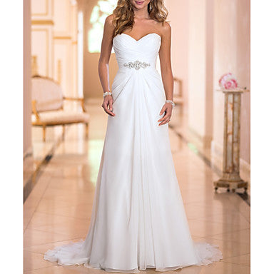 A-Line Strapless Sweep / Brush Train Chiffon Strapless Simple Backless Made-To-Measure Wedding Dresses with Crystals 2020