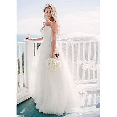A-Line Sweetheart Neckline Sweep / Brush Train Tulle Spaghetti Strap Formal Illusion Detail Made-To-Measure Wedding Dresses with 2020
