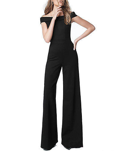 Women's Basic Black Wine Blue Jumpsuit Onesie, Solid Colored S M L