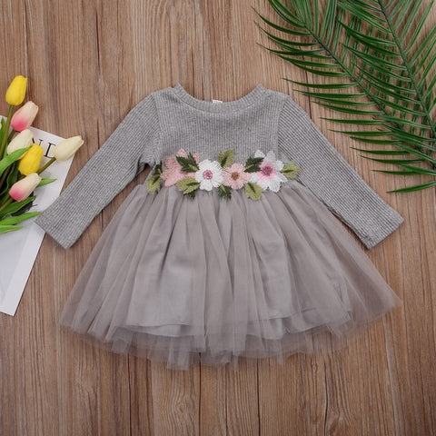 1PC Flower Girls Autumn Winter Knitted Dresses Cute Infant Baby Girl Long Sleeve Pink White White Tutu Ball Gown Dress 0 3Y