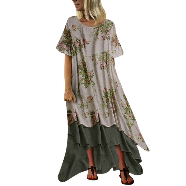 2019 Summer Linen Dresses Women Boho Patchwork Short Sleeve O Neck Maxi Dress Loose Plus Size Long Dress Vintage Vestidos Robe