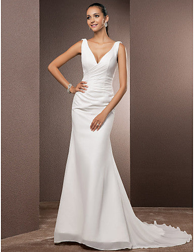 Sheath / Column V Neck Court Train Chiffon Over Satin Regular Straps Simple Open Back Made-To-Measure Wedding Dresses with Side-Draped 2020