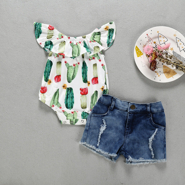 Toddler Kid Baby Girls Sleeveless Cactus Prints Romper Denim Shorts 2Piece Sets toddler Outfits Child Clothes 1 4 Years birthday