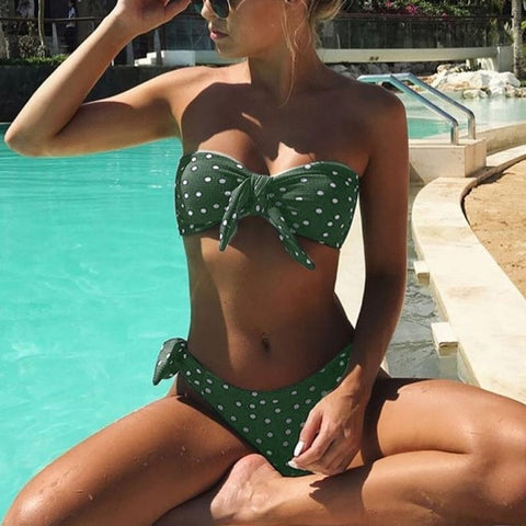 Women Sexy Dot Printed Bikini Set Push Up Padded Bow Swimwears Swimsuit Beachwear Sexy Women's Swimsuits Bather Swimwear Biquini