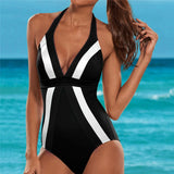 Swimsuit 2020 Mayo Women striped color block one piece swimsuit stitching hanging neck strapless backless one piece swimsuit 4zg