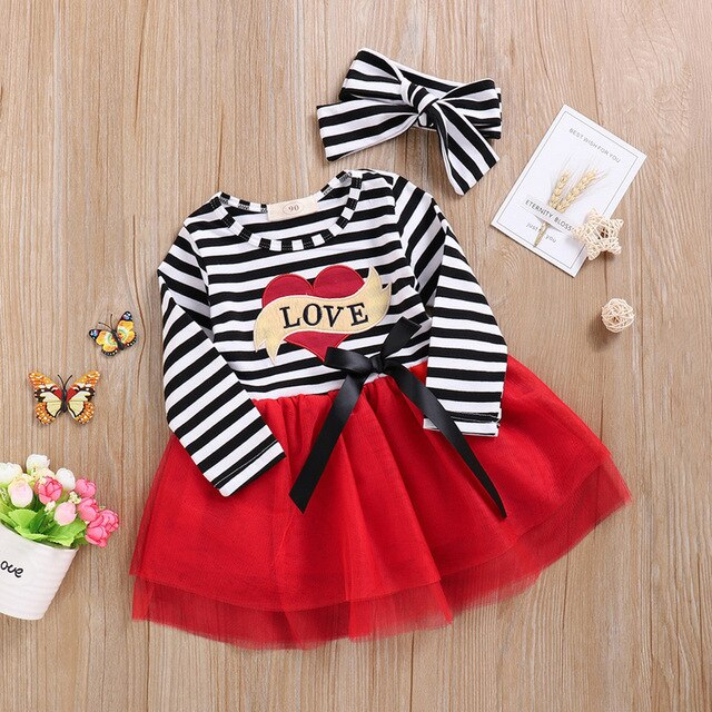 Toddler Baby Girl Valentines Kids Striped Tulle Dress With Headband Outfits Sets Fashion Long Sleeve Letter Girl Clothes on