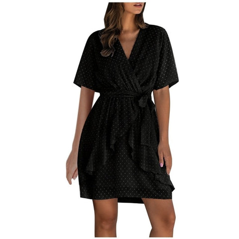 Summer Women Loose Short Sleeve Loose Ruffle Splice Bandage Waist Casual Mini Solid V Neck Dress 2020 NEW#40 on