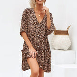 Summer Leopard Button Short Mini Dress Short Sleeve V Neck Loose Casual Dress Women Ladies Beach Party Dress Vestidos de festa