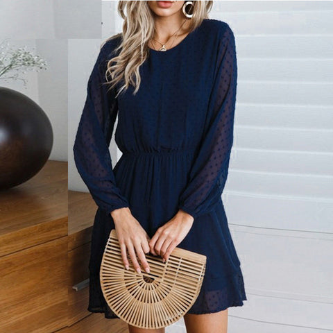 JAYCOSIN 2019 New Summer Women Dresses Sexy O Neck Solid Cascading Full Lantern Sleeve Casual Mini Sundress For Beach 9042723