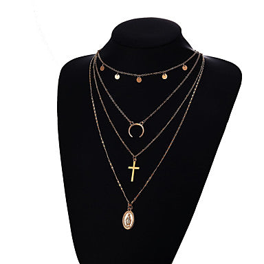 Women's Chain Necklace Layered Necklace Layered Moon Crescent Moon double horn Ladies Bohemian European Fashion Alloy Gold Silver Golden 2 Silver 2 Golden 3 40 cm Necklace Jewelry 1pc For Party