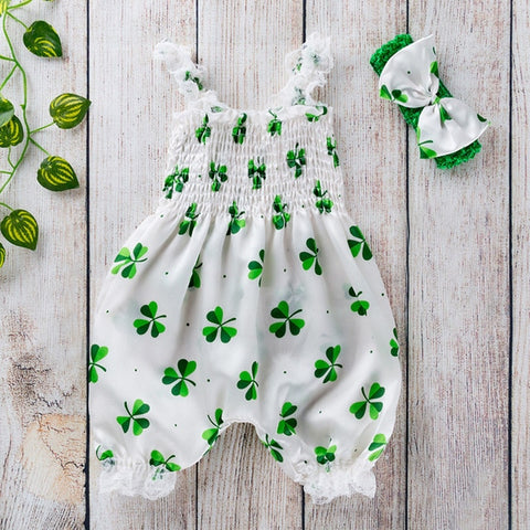 Toddler Baby Boy Girls St. Patrick's Day Sleeveless Romper Jumpsuit Clothes st patricks day outfit kids clothes