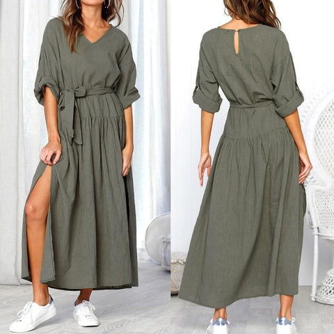 Serenity Boutique Dress Women Long Sleeve V Neck Split Solid Sashes fashion Dresses Ladies Casual Loose Maxi dress women 2018AUG3