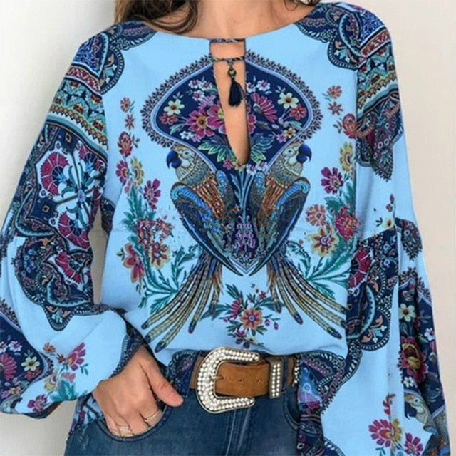 S 5XL Women Bohemian Clothing Blouse Shirt Vintage Floral Print Tops Ladies Blouses Blusa Feminina Plus size