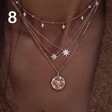 Women's Choker Necklace Charm Necklace Layered Star Ladies Bohemian Punk Lolita Fashion Rhinestone Alloy Gold Layer Necklace 1 Layer Necklace 2 Layer Necklace 3 Layer Necklace 4 40 cm Necklace Jewelry