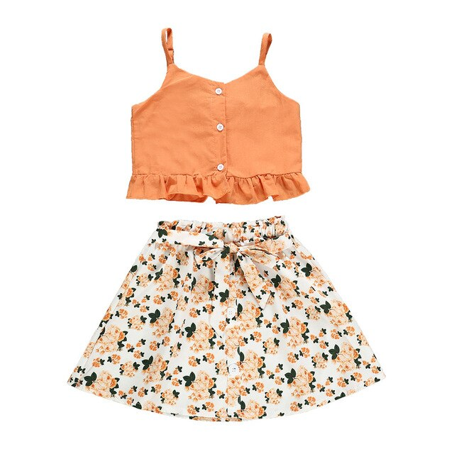 2019 Toddler Baby Child Girl Clothes Sets Summer Sleeveless Kids Crop Tops+Floral Skirts For Girls Clothing Set 1 2 3 4 Years