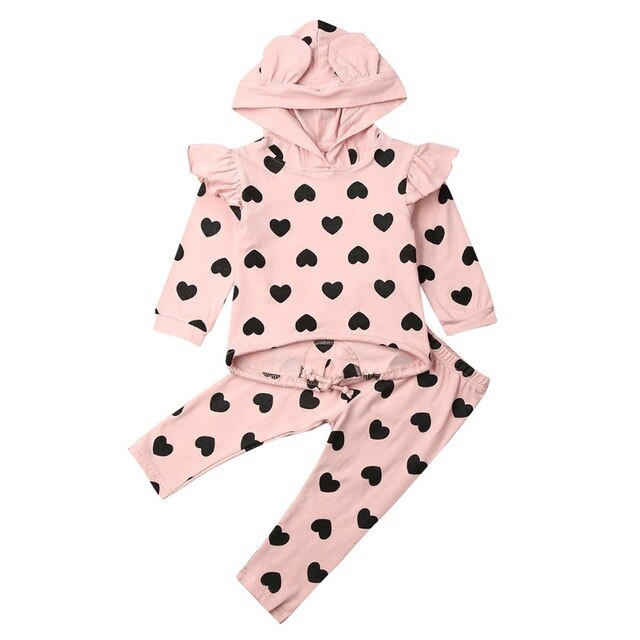 toddler Baby Girl clothes infant baby hooded Fashion Fly Long Sleeve Heart Print Ear Hooded Pullover Tops+Trousers Pants Outfit on