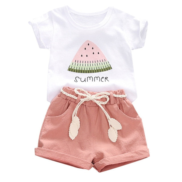 2Pcs Toddler Baby Summer Girls Clothes  2 3 Years Fashion Short Sleeve T shirt+Shorts Girls Outfits Kids Clothing For Girls Sets
