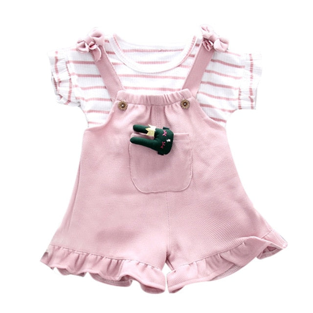 2019 Toddler Kids Baby Girl Clothes Set Striped Sleeveless Shirt+Suspenders Shorts Girls Clothes Outfits