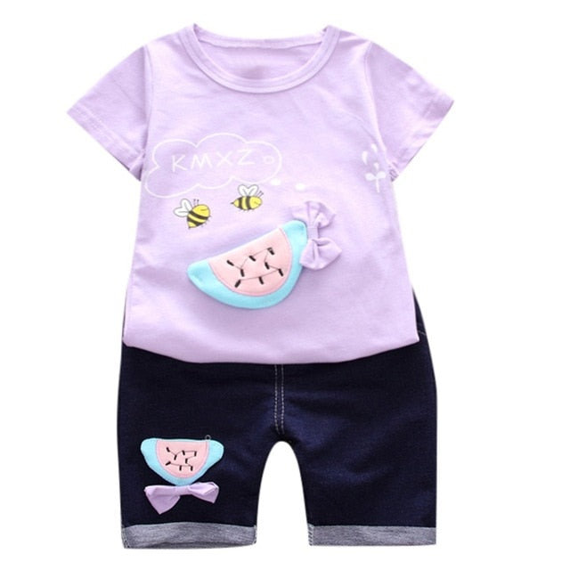 Toddler Baby Kids Girls Bee Fruit T shirt Tops Shorts Outfits Clothes Set kids Clothes Kids Suit Fashion 12M 3T Children Clothes