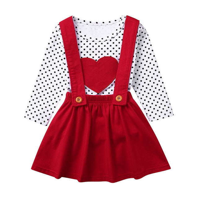 Kids Baby Girls Valentine Sets Outfits Heart shaped Long Sleeve Tops Suspender Skirts Spring Toddler Girls Clothes Sets Outfits on