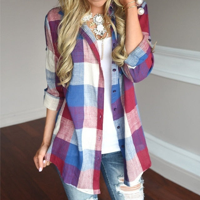 Fashion womens tops and blouses Female Casual Matching Color Long Sleeve Button Loose Plaid Shirt Top blusas mujer de moda 2019