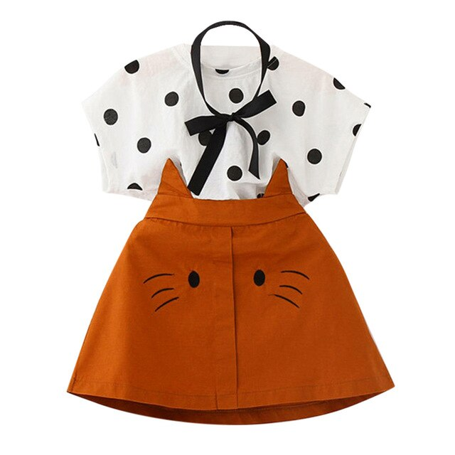 Toddler Kids Girls Clothes Set 2019 Summer Cute Dot Print T shirt+Cat Embroidery Skirt Children Clothing Set 3 4 5 6 7 Years