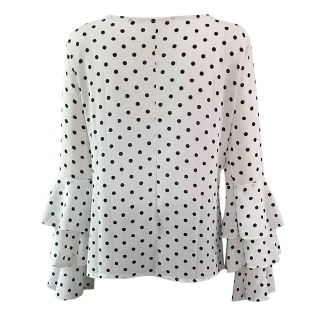 Women Polka Dot Blusas Shirts  Spring Fashion O Neck Long Sleeve Blouse Femininas Casual Tops Plus Size 4XL 5XL Shirt