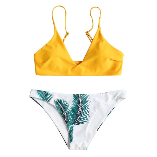 Bikini 2018 Hot Sale 2019 Women's swimming suit Women's Bikini Set Sexy Leaves For Rope Swimsuit Push up Swimwear 2.0#