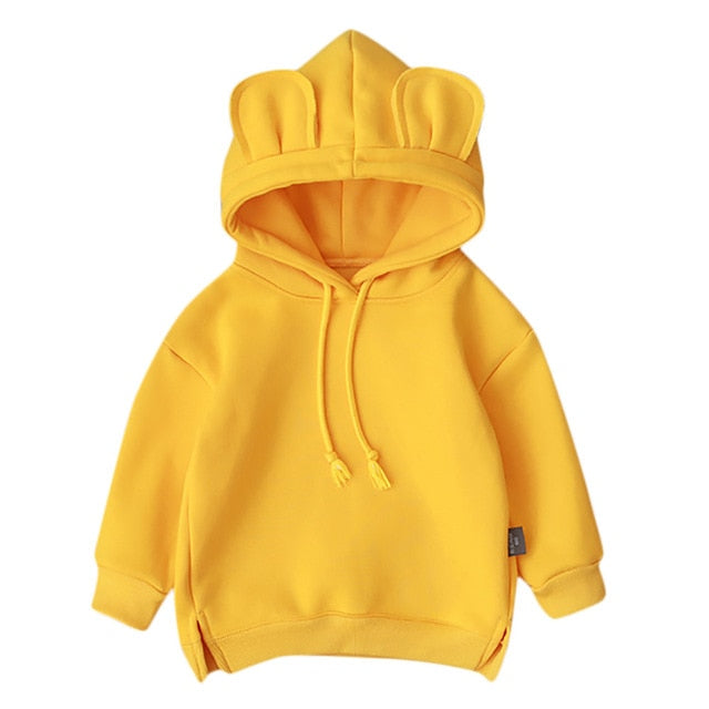 2020 New baby fleece hooded solid color sweater Toddler Baby Kids Boy Girl Hooded Cartoon 3D Ear Hoodie Sweatshirt Tops Clothes