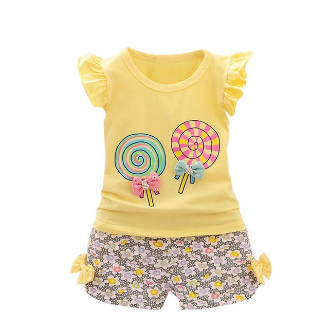 Girls Clothes 2PCS Kids Sets For Girls Outfits Lolly T shirt Tops+Short Pants Clothes Set Toddler Kids Baby roupa infantil
