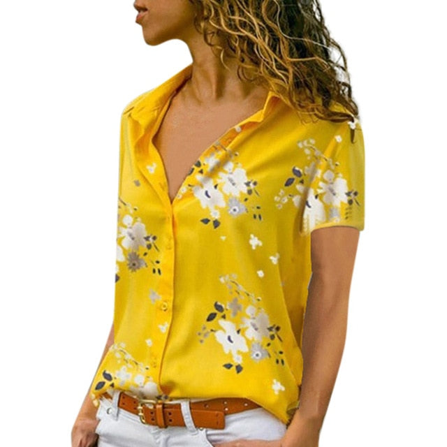 FREE OSTRICH Women Shirts Plum Blossom Large Size Short Sleeve Loose Silky Thin Trend Elegant Noble Vogue Summer Blouse Shirts