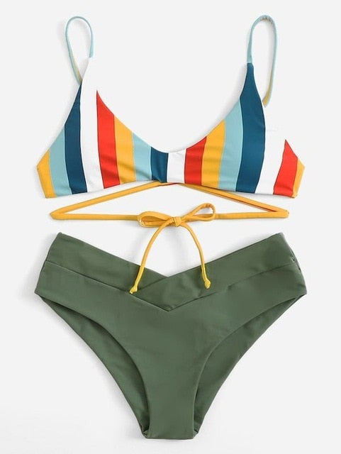 Sexy micro Bikini 2019 Women Swimsuit Scoop Neck Striped Swimwear Knot Bow fringe Summer Beachwear Bathing Suit Push Up Biquini