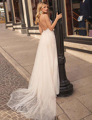 A-Line V Neck Court Train Lace / Tulle Spaghetti Strap Formal Sexy / Beautiful Back Made-To-Measure Wedding Dresses with Appliques 2020
