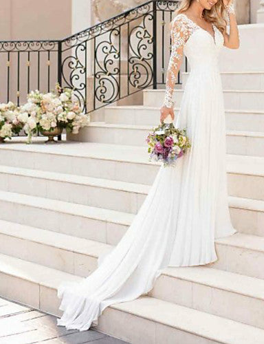 A-Line V Neck Sweep / Brush Train Chiffon / Lace Long Sleeve Romantic Illusion Detail Made-To-Measure Wedding Dresses with Lace Insert 2020