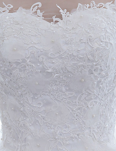 Ball Gown Scoop Neck Floor Length Satin / Lace Over Tulle Half Sleeve Mordern Sparkle & Shine Made-To-Measure Wedding Dresses with Lace 2020 / Illusion Sleeve