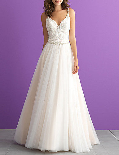 A-Line V Neck Floor Length Tulle Regular Straps Made-To-Measure Wedding Dresses with Appliques 2020