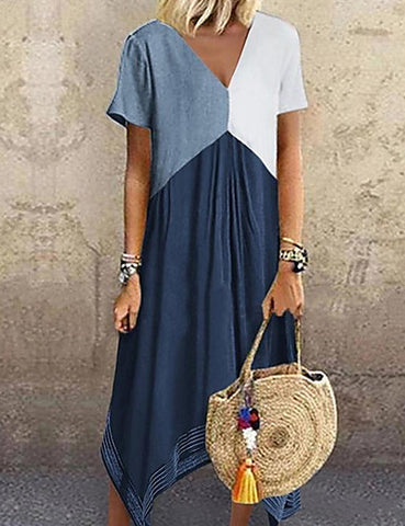 Women's A Line Dress - Color Block Light Blue Red Green S M L XL