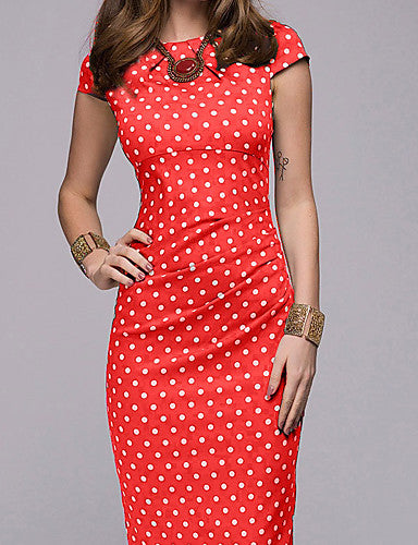 Women's Going out Casual / Daily Street chic Elegant A Line Bodycon Sheath Dress - Polka Dot Geometric Print Red Brown Green S M L XL