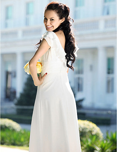 Mermaid / Trumpet V Neck Floor Length Chiffon Short Sleeve Made-To-Measure Wedding Dresses with Ruched 2020 / Petal Sleeve